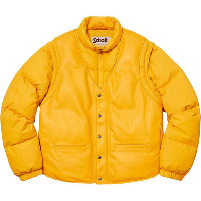 Schott × Supreme Supreme Schott Down Leather Vest Puffy Jacket Yellow