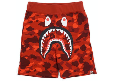 BAPE Color Camo Shark Sweat Shorts Red
