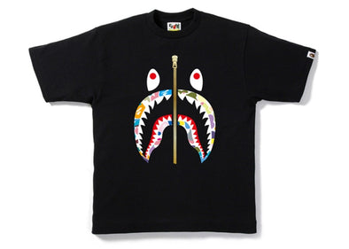 BAPE Multi Camo Gold Zip Shark Tee