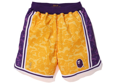 Bape x Mitchell & Ness Lakers ABC Basketball Shorts
