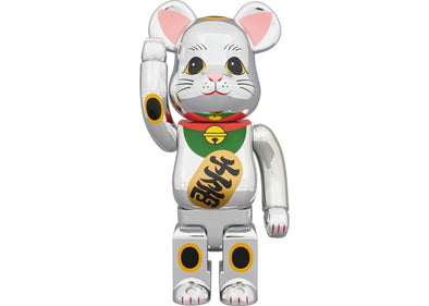 Bearbrick Beckoning Cat Chrome Plated Gauze lucky cat 1000%