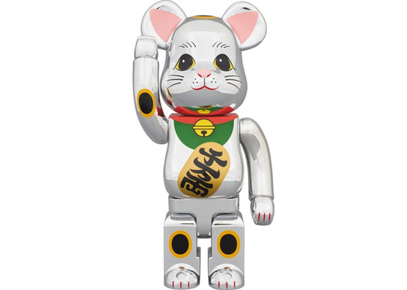 Be@rbrick Beckoning Cat Chrome Plated Gauze lucky cat 1000%