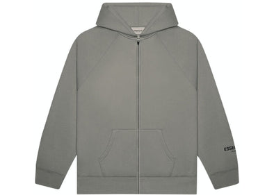 FEAR OF GOD ESSENTIALS 3D Silicon Applique Zip up Hoodie Charcoal