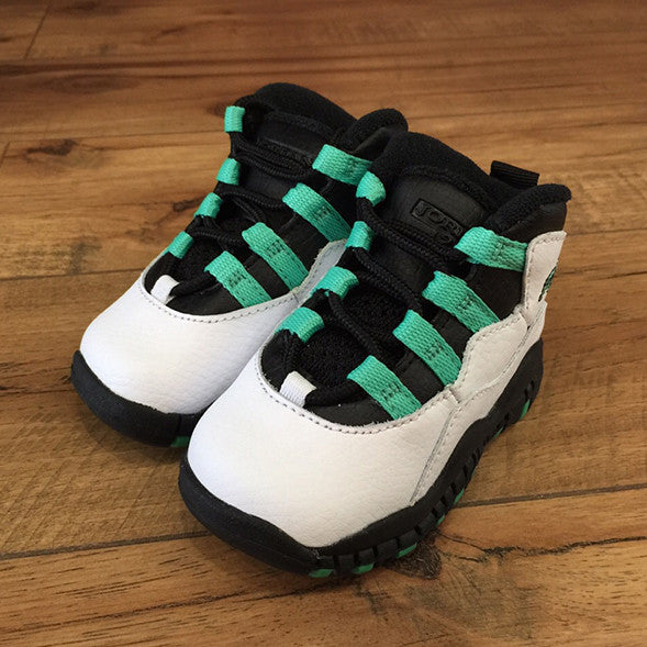NIKE AIR BABY JORDAN 10 X White Verde 23 Black TD Toddler-705416 118