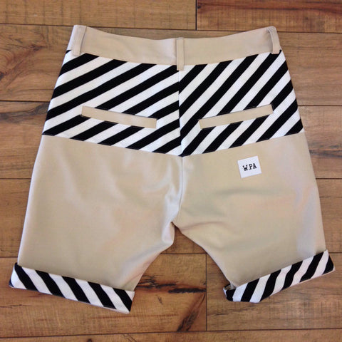 W. PA Black/White Premium Chino Shorts (Khaki)