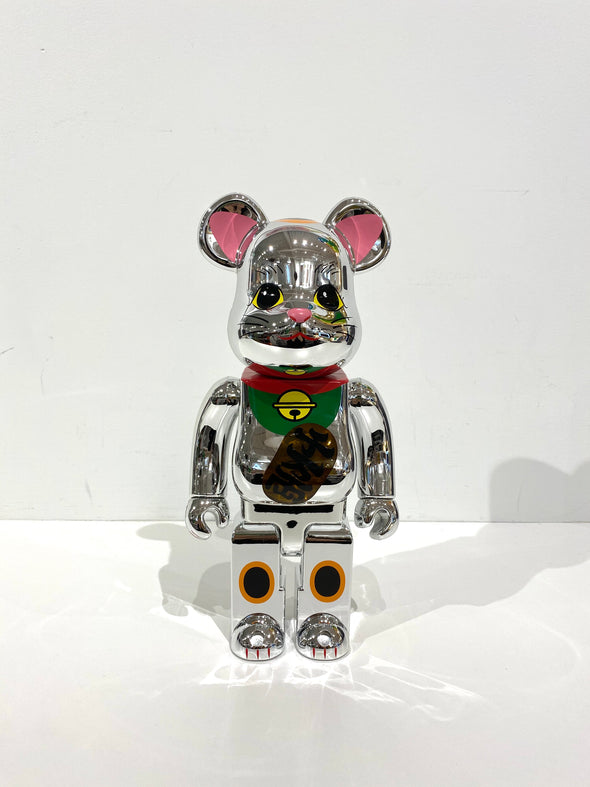 Be@rbrick beckoning lucky cat silver-plated emission 400%