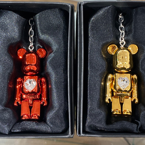 Be@rbrick 70% Swarovski Heart Keychain (Gold/Red)