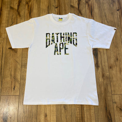 BAPE Green Camo Bathing Ape Logo Tee (White)