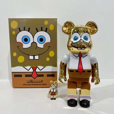 SpongeBob Gold Chrome 100% & 400% BE@RBRICK
