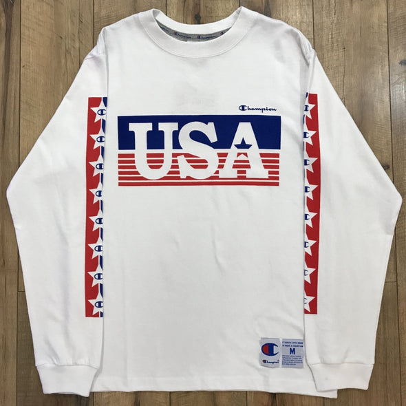 Champion USA Logo l/s Tee (White)