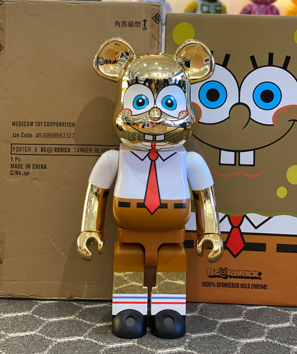 Be@rbrick x Spongebob Squarepants Gold Chrome 1000% Multi