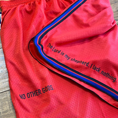 """NO OTHER GODS"" - Champion Mesh Short (Red)"