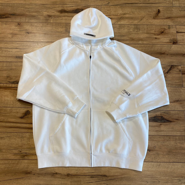 FEAR OF GOD ESSENTIALS 3D Silicon Applique White Zip-up Hoodie