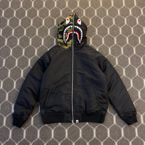 BAPE Shark Hooded down Jacket (Black)