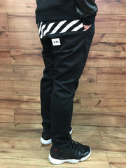 W.PA Black & White Stripes Chino Pants (Black)