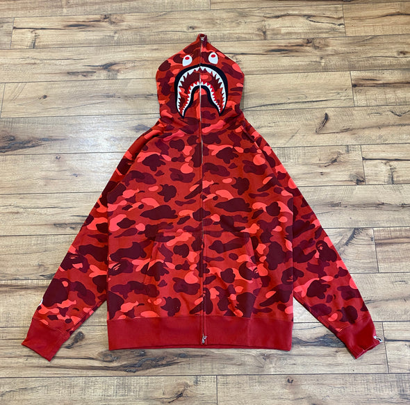 BAPE Color Camo PONR Shark Full Zip Hoodie (Red)