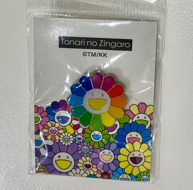 Takashi Murakami Rainbow Flower Pin white face (Rainbow)