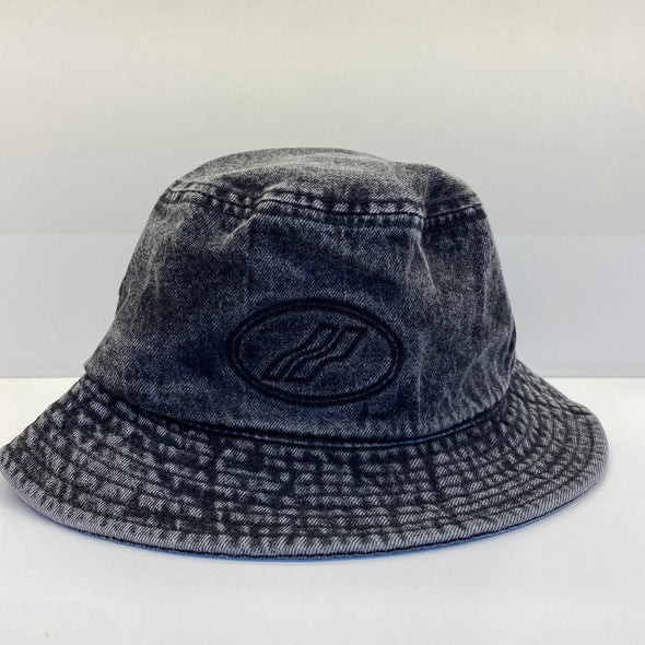 We11done Wash Black Denim Embossed Logo Bucket Hat