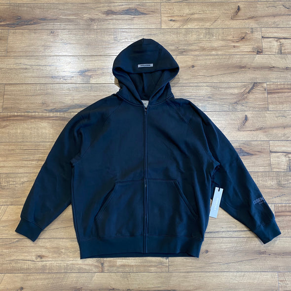 FEAR OF GOD ESSENTIALS 3D Silicon Applique Zip Up Hoodie Black