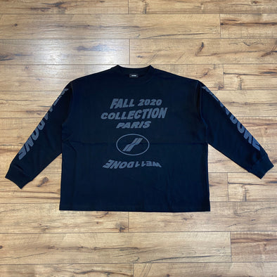 We11done Black 'PF20' Long Sleeve T-Shirt