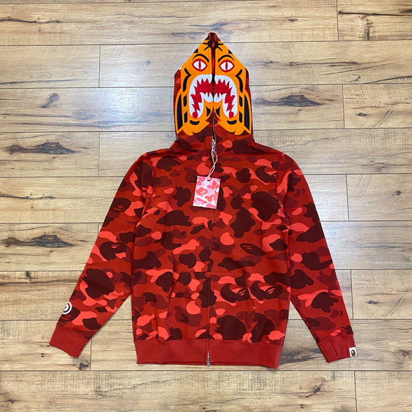 Bape Color Camo Tiger Full Zip Hoodie (Red)
