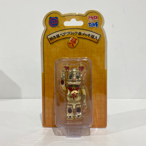 Be@rbrick Gold Metallic Maneki Neko Lucky Cat 100%