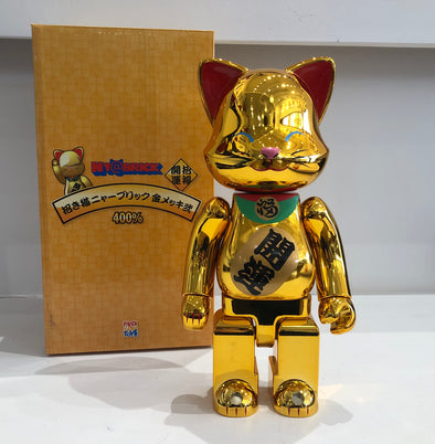 Gold Lucky Cat Neko Sharp Ear Smiling 400% Be@rbrick