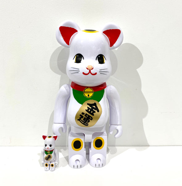 White Lucky Cat Neko 2 400% + 100% Be@rbrick set