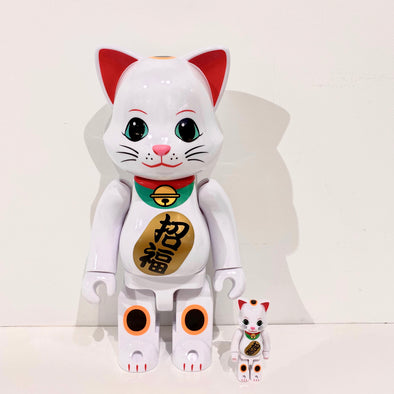 Be@rbrick Lucky Cat White 2 400%