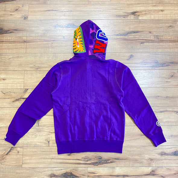 BAPE Color Camo Shark Full Zip Hoodie (Purple)