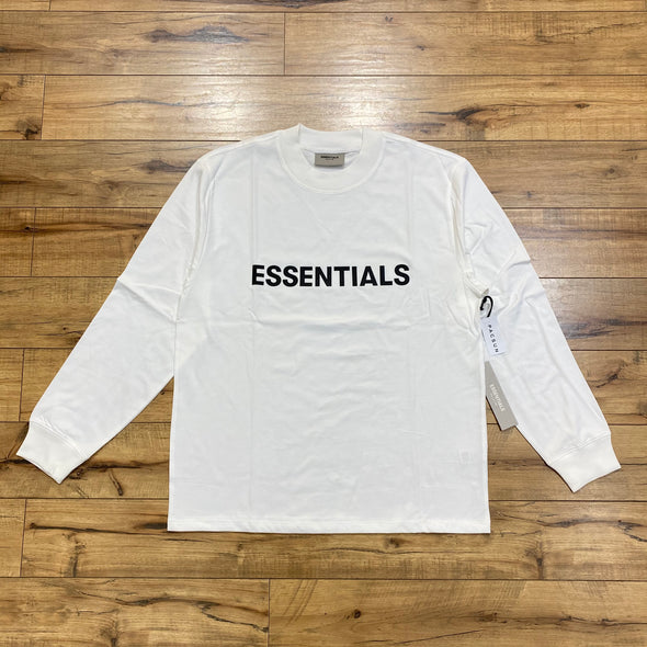 FEAR OF GOD ESSENTIALS Black Logo Long Sleeve T-shirt (White)