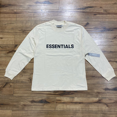 FEAR OF GOD ESSENTIALS Black Logo Long Sleeve T-shirt (Cream)