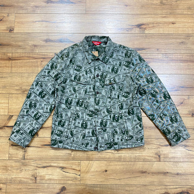 Supreme 100 Dollar Bill Trucker Jacket Green