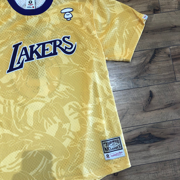 Aape x Mitchell & Ness Los Angeles Lakers BP Jersey Gold