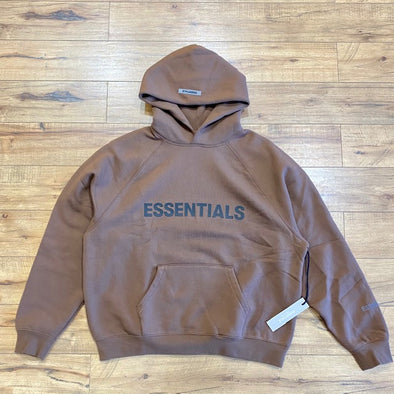 FEAR OF GOD ESSENTIALS 3D Silicon Applique Pullover Hoodie Brown