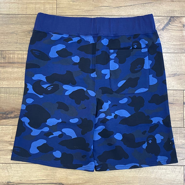 BAPE Color Camo Shark Sweat Shorts Navy
