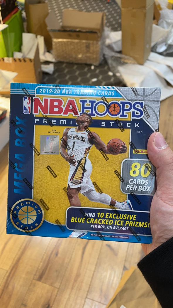2019/20 panini hoops premium stock Mega Box (10 Exclusive blue Cracked Ice Prizms) 80 Cards