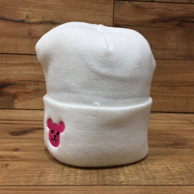 Superbored x PostPet Pink Bear Head Embroidery Cuffed Beanie (White)