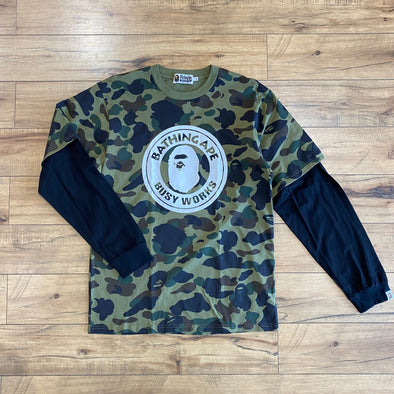 Bape 1st Camo Busy Works Layered L/S Tee (Green)