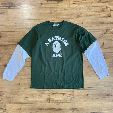 Bape College Logo Layered L/S Tee (Green)