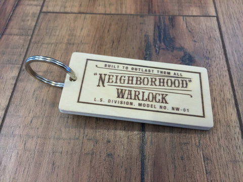 NEIGHBORHOOD WARLOCK WOODEN KEYCHAIN