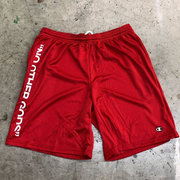 """NO OTHER GODS"" Champion Mesh Shorts (Red)"