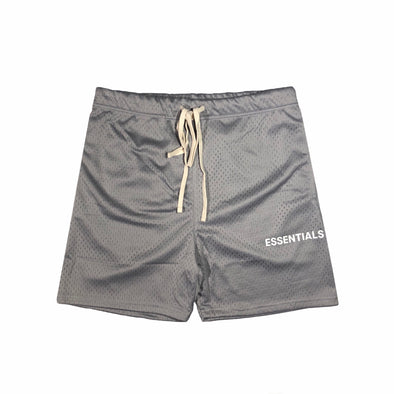 FEAR OF GOD Essentials Graphic Mesh Drawstring Shorts Grey