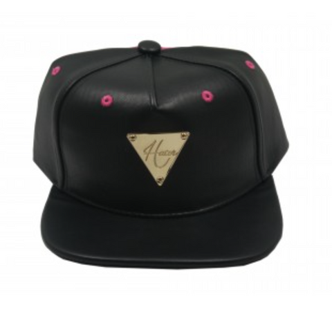 HATER SHINOZAKI HSYAN COLLAB LEATHER SNAPBACK - BLACK/PINK