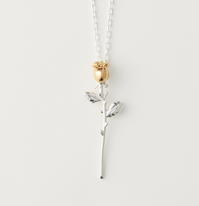 Ambush Rose Charm Necklace (Silver)