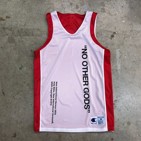 """No Other Gods"" x Champion Reversible Jersey Tank Top (Red)"