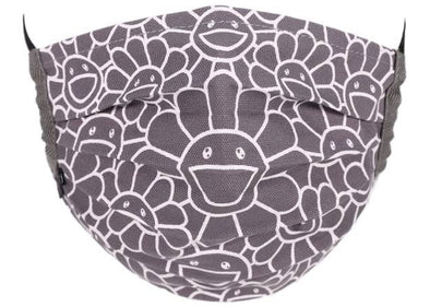 Takashi Murakami Kaikai Kiki Flower Pattern Face Mask (Grey/White)