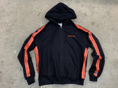 """NO OTHER GODS"" / Orange Logos Taped Zip Up Hoodie (Black)"