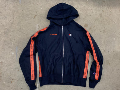 """NO OTHER GODS"" / Champion Orange Logos Taped Zip Up Hoodie (Navy)"
