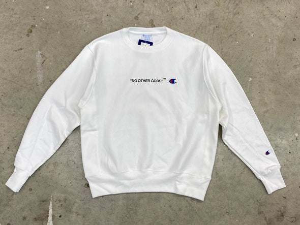 """NO OTHER GODS"" Floral Champion Logo Crewneck (White/Black)"